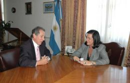 British Amb. John Hughes with Defence Minister Nilda Garré