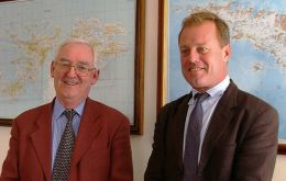 Former British Gov. Frank Savage, (FCO/OTD) and his colleague, Roger Bellers (DFID) Photo PN