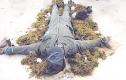 Soldier-manikin staked to the ground