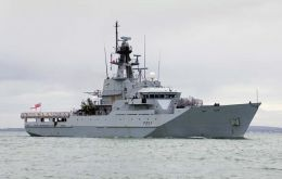 HMS <i>Clyde</i> ready to leave to the Falklands
