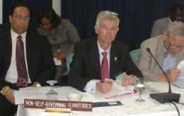 Councillor Richard Davis with delegates from Gibraltar and Cayman at UN seminar in Grenada last month