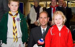 During the Expo on Saturday, HRH the Earl of Wessex was presented with a penguin (locally made by Kiddcrafts) for his daughter, Lady Louise Windsor. Beaver Scout James Tyrrell and Rainbow Guide Mered