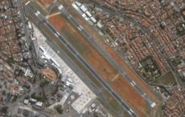 Congonhas airport is located inside the city