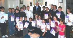 Year 6 pupils at Government House with His Excellency the Governor Alan Huckle and teacher Jackie Adams