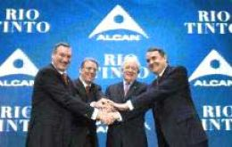 Alcan and Rio Tinto's directors celebrate the agreement