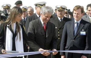 Pte. Vazquez during the ceremony at Botnia's new port