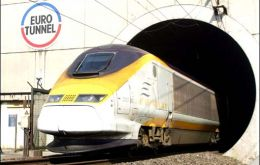 A Eurostar train emerging from the Channel Tunnel in Calais