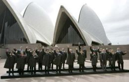 APEC leaders pose for a family photo at the Sydney Opera House