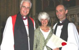 New minister licenced in Norwich.The new Rector of  Cathedral, R. Hines (right)his wife, Jen, and the Bishop for the Falklands, S. Venner.