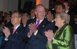 UN Secretary Ki-moon, King Juan Carlos and Pte. Bachelet during the opening ceremony