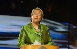 President Michelle Bachelet addresses the opening ceremony