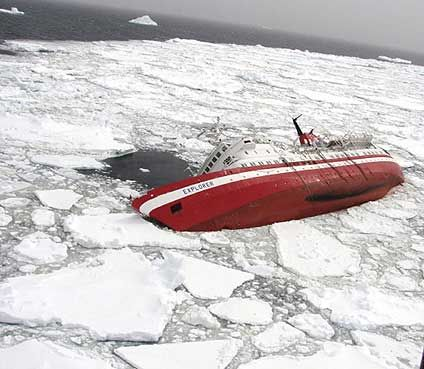 The Mv Explorer Cruise Vessel Sinking In Antarctic Ocean