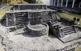 Ruins of the 800-year-old Aztec pyramid in the central Tlatelolco area of Mexico City.