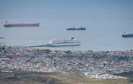 View of Punta Arenas, port, Straight of Magellan, and Norwegian Dream cruise ship