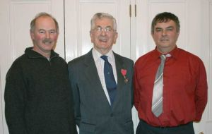 Robin Woods MBE (centre) with Mike Morrison and Mike Clarke (right) whose help was invaluable in his research.