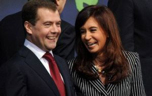 President Medvedev and his counterpart Cristina Fernadez