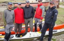 Chris Millington, Tim Carter and Richy Simpson at Pebble Island with Tom Parrick and Fiona Whitehead