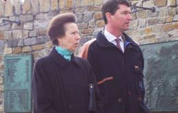 Princess Anne and her husband during her last trip at Stanley.  Picture: J Courtney/PN