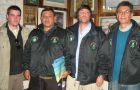 Travel Agent Ezequiel Gatti, War Veterans Julio Mena and Marcelo Gustavo Sanchez, Journalist Carlos Porto - in the 1982 War section of the Stanley Museum