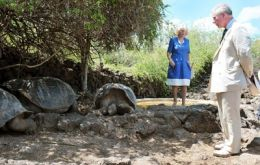 Britain's Prince Charles and his wife, the Duchess of Cornwall, Camilla Parker Bowles, walk next to a giant turtle during a visit to the Charles Darwin Research Station. Photo: AFP