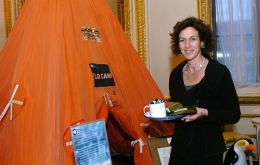 Foreign Office Minister Gillian Merron with a field tent during an event to celebrate the 50th Anniversary of the British Antarctic Treaty