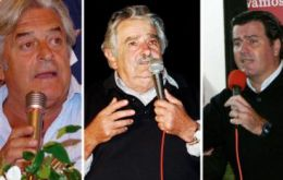 Lacalle, Mujica and Bordaberry presidential hopefuls of the three main parties.