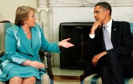 Presidents Bachelet and Obama at the White House