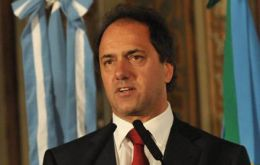 Governor Scioli takes over as caretaker president of the hegemonic party.