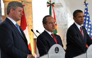 Harper, Calderon and Obama support OAS efforts and Costa Rica president Arias mediation.