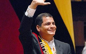 The Ecuadorian president takes the oath under the new constitution which saw his re-elected with a comfortable majority.