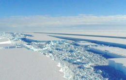 Pine Island glacier in west Antarctica reveals the surface of the ice is now dropping at a rate of up to 16m a year.