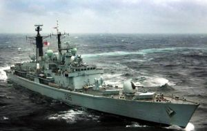 The Type 42 destroyer comes from months of patrolling in South Atlantic and Falklands waters