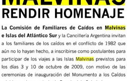The original ad inviting Malvinas Families to the Falklands October trips