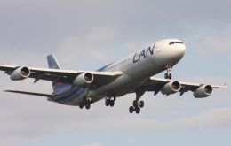 Lan Chile's Airbus A 340 with capacity for 256 passengers will be flying on the two first Saturdays of October