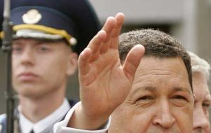 Chavez made the announcement on his return form 10 day tour of three continents
