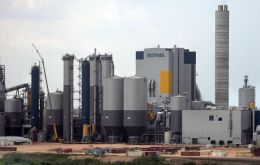 The mill produces a million tons of pulp annually