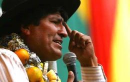 The first elected indigenous president of Bolivia Evo Morales