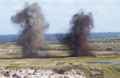 Controlled explosions at Surf Bay