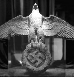 The giant bronze eagle with spread wings and a swastika under its talons was salvaged from the wreckage in 2006