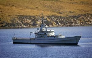 HMS Dumbarton Castle, out of service since 2005, sailing in Falklands' waters