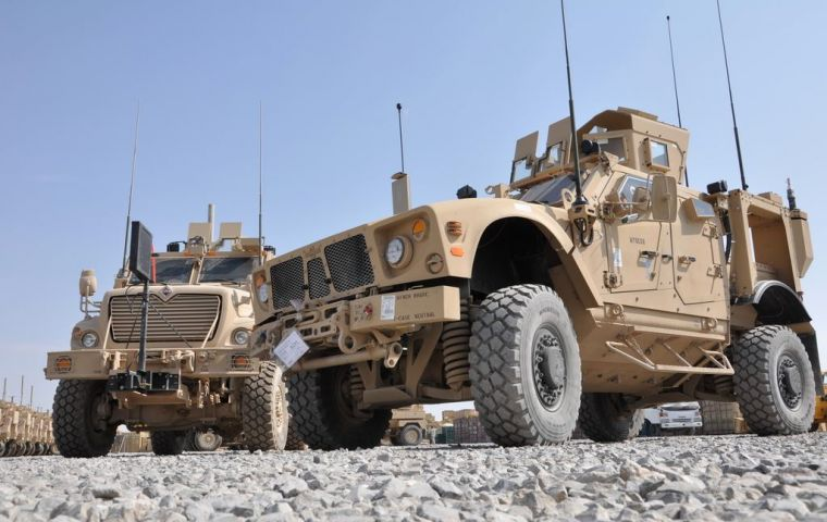 Mine-resistant, ambush-protected (MRAP) vehicles for the wars in Afghanistan and Iraq was one of the main purchases of the US government