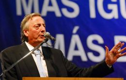 Nestor Kirchner during the May first celebration