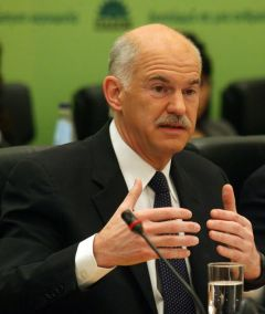 "Prime Minister George Papandreou: violence is ""not a solution""."