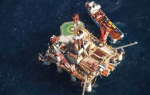 "The oil exploration rig ""Ocean Guardian"" operating in Falklands waters"