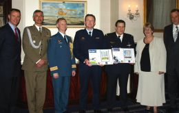 Air Attachè's from USA, Poland, Canada and France join Moira Eccles (Postmaster Falklands) & Tim Underwood (Creative Direction) to present Falkland Islands and Ascension Islands London 2010 stamp issu