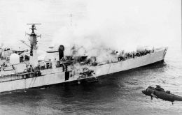 HMS Sheffield hit by the French manufactured Exocets.