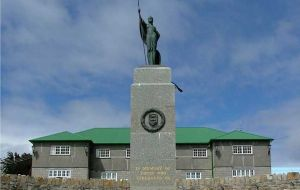 Liberation Monument in front of Stanley's Secretariat building