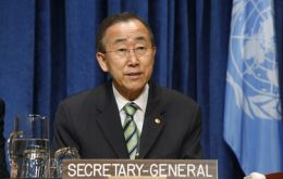 UN Secretary General Ban Ki-moon gives the annual MDG track report