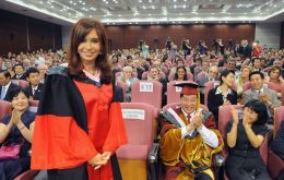 The Argentine president at the Beijing School of economics