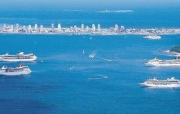 Punta del Este on a busy summer day with several cruise vessels in the bay